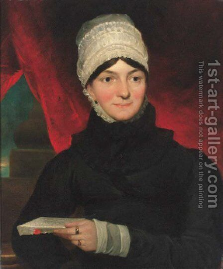 Portrait of Mrs Evans, half-length, in a black dress with white bonnet, holding a letter in her left hand by (after) Constable, John - Reproduction Oil Painting
