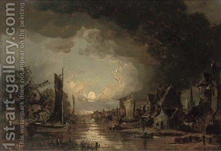 A moonlit river by (after) John Crome - Reproduction Oil Painting