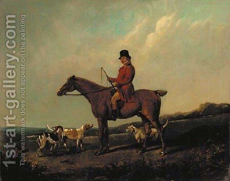 A huntsman on a bay hunter with hounds, in a landscape by (after) John Snr Ferneley - Reproduction Oil Painting
