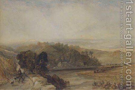 Driving the herd through an extensive landscape, a castle in the hills beyond by (after) John Faulkner - Reproduction Oil Painting