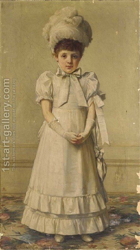 Portrait of a girl by (after) John Hanson Walker - Reproduction Oil Painting