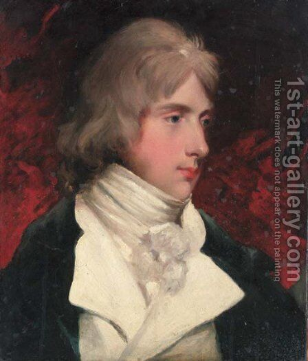 Portrait of Hugo Meynell, bust-length, in a black coat and white waistcoat by (after) Hoppner, John - Reproduction Oil Painting