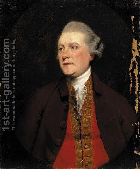 Portrait of a gentleman, half-length, in a brown coat and red waistcoat with gold trim, feigned oval by (after) Hoppner, John - Reproduction Oil Painting