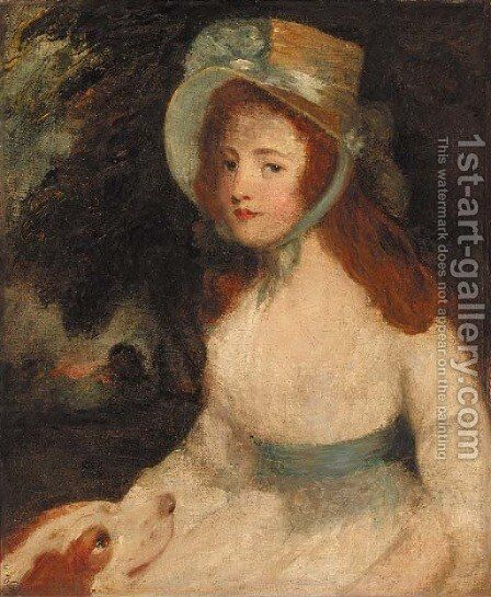 Portrait of a lady, three-quarter-length, in a white dress and bonnet, a dog at her side, in a landscape by (after) Hoppner, John - Reproduction Oil Painting
