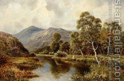 Children Fishing On A Tranquil River by (after) John Horace Hooper - Reproduction Oil Painting