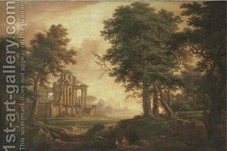 A wooded landscape with figures, classical ruins and harbour in the distance by (after) John Inigo Richards - Reproduction Oil Painting