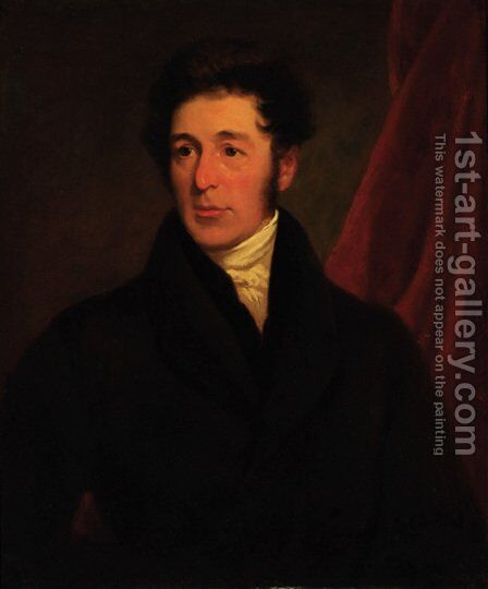 Portrait of a gentleman 2 by (after) John James Masquerier - Reproduction Oil Painting