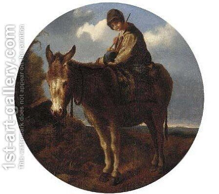 A young boy on a donkey by (after) John Joseph Barker Of Bath - Reproduction Oil Painting