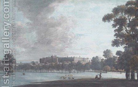 A castle, possibly Windsor, seen from the deer park by (after) John Laporte - Reproduction Oil Painting