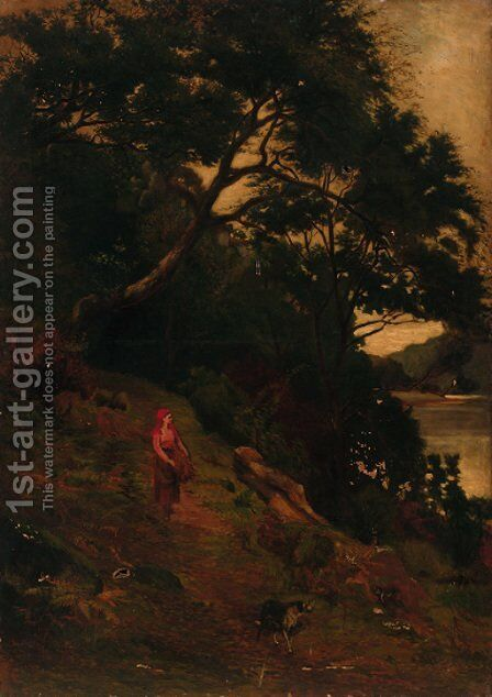 A faggot gatherer on a riverside path by (after) John MacWhirter - Reproduction Oil Painting