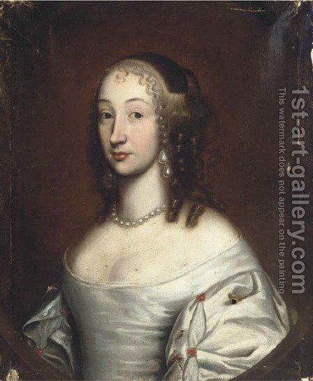 Portrait of a lady 3 by (after) John Michael Wright - Reproduction Oil Painting