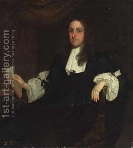 Portrait of Joseph Offley (d. 1721) by (after) John Michael Wright - Reproduction Oil Painting