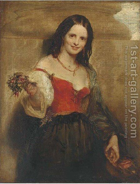 The flower seller by (after) John Phillip - Reproduction Oil Painting