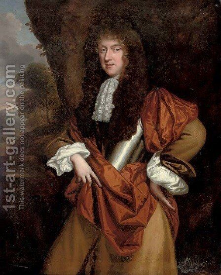 Portrait of a gentleman 3 by (after) John Riley - Reproduction Oil Painting