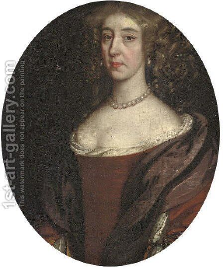 Portrait of a lady 2 by (after) John Riley - Reproduction Oil Painting