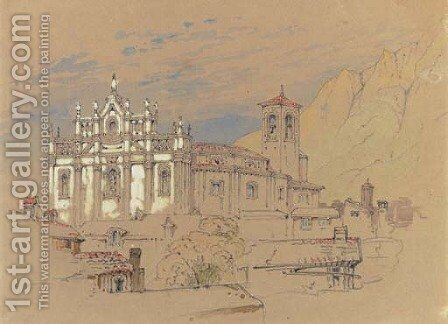 An Italianate cathedral by (after) John Ruskin - Reproduction Oil Painting