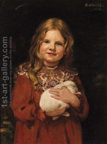 Portrait Of A Young Girl by (after) John Seymour Lucas - Reproduction Oil Painting