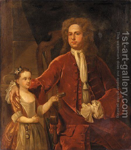 Portrait of a gentleman and his daughter by (after) John Smybert - Reproduction Oil Painting