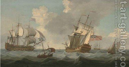 Men-o'war passing in the Channel by (after) John Thomas Serres - Reproduction Oil Painting