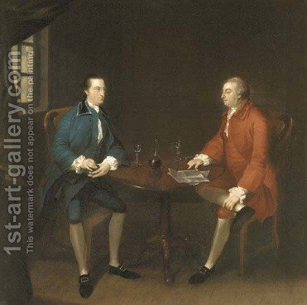 Two gentlemen seated at a table by (after) John Thomas Seton - Reproduction Oil Painting