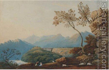 Figures and sheep before a viaduct by (after) John Varley - Reproduction Oil Painting