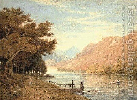 Rowing on the lake, a glorious morning by (after) John Varley - Reproduction Oil Painting