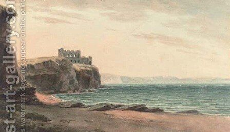 Clifftop ruins by (after) John Warwick Smith - Reproduction Oil Painting