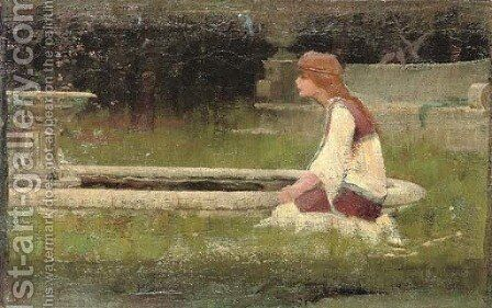 Girl kneeling by fountain by (after) John William Waterhouse - Reproduction Oil Painting