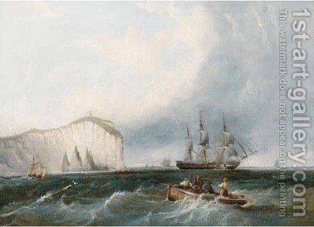 A frigate weaving through small craft off a lofty headland by (after) James Wilson Carmichael - Reproduction Oil Painting