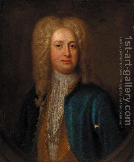 Portrait of a gentleman, quarter-length, in a blue coat and gold waistcoat, feigned oval by (after) Richardson. Jonathan - Reproduction Oil Painting