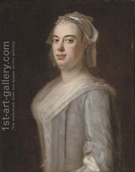 Portrait of a lady, half-length, in a grey dress with a white cap by (after) Richardson. Jonathan - Reproduction Oil Painting