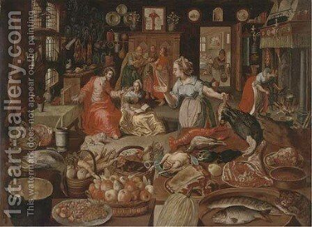 Christ in the House of Martha and Mary by (after) Joos Goeimare - Reproduction Oil Painting