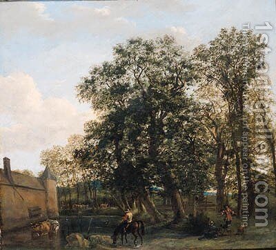 Drivers watering cattle near a castle, a falconer nearby by (after) Joris Van Der Haagen Or Hagen - Reproduction Oil Painting
