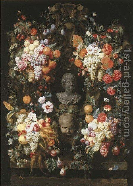 A garland of grapes by (after) Joris Van Son - Reproduction Oil Painting