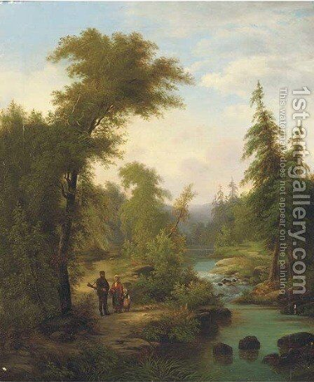 A family on a riverbank in a wooded landscape by (after) Josef Thomas - Reproduction Oil Painting