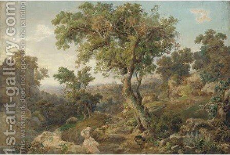 Figures in the Roman Campagna by (after) Joseph Anton Koch - Reproduction Oil Painting