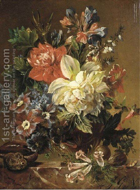 Flowers in a vase, a snail and a nut on a stone ledge by (after) Joseph Nigg - Reproduction Oil Painting