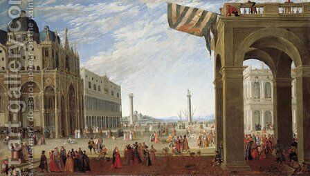 A view of the Bacino from the Piazza San Marco with the Doge's Palace and the Church of San Marco by (after) Joseph, The Younger Heintz - Reproduction Oil Painting
