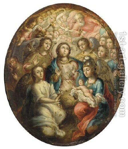 The Virgin and Angels adoring the Infant Christ by (after) Joseph, The Younger Heintz - Reproduction Oil Painting