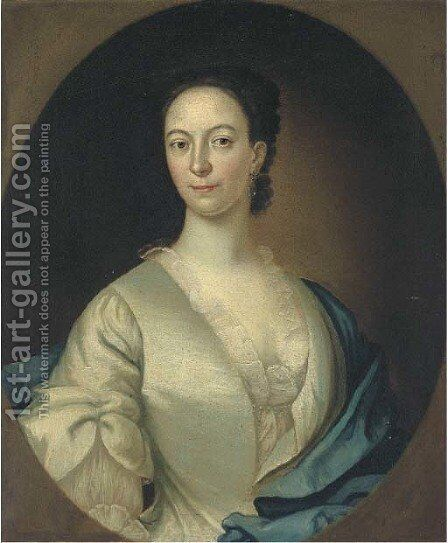 Portrait of a lady, bust-length, in a white dress and blue wrap, feigned oval by (after) Highmore, Joseph - Reproduction Oil Painting