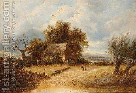 A mother and child by a pond by (after) Joseph Thors - Reproduction Oil Painting