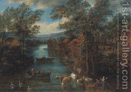A wooded river landscape with fisherman and peasants on a track by (after) Joseph Van Bredael - Reproduction Oil Painting