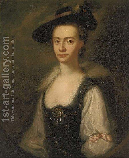 Portrait of Anne Townley by (after) Josepf Wright Of Derby - Reproduction Oil Painting