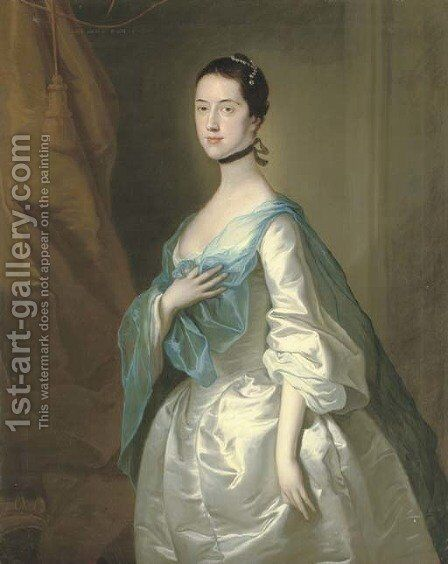 Portrait of a lady 3 by (after) Josepf Wright Of Derby - Reproduction Oil Painting
