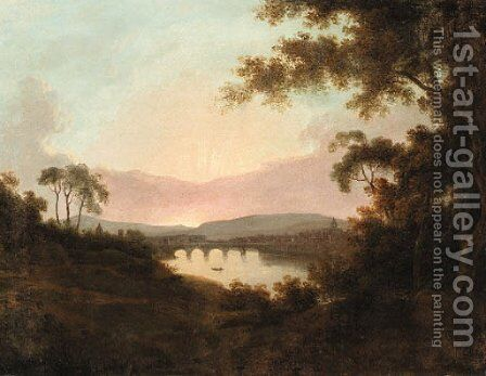A view of Florence at Sunrise by (after) Josepf Wright Of Derby - Reproduction Oil Painting