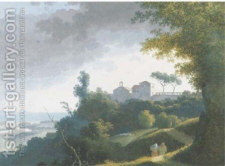 An extensive landscape with a monastery on a hilltop, peasants on a path on the foreground, the sea beyond by (after) Joseph Augustus Knip - Reproduction Oil Painting
