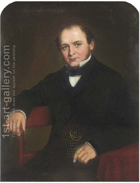 Portrait of a gentleman 2 by (after) Josiah Gilbert - Reproduction Oil Painting