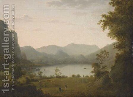 Figures conversing in a lake landscape by (after) Julius Caesar Ibbetson - Reproduction Oil Painting