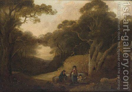 Figures resting in a woodland glade by (after) Julius Caesar Ibbetson - Reproduction Oil Painting