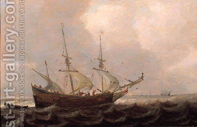A threemaster offshore in a stiff breeze, on a cloudy day by (after) Julius Porcellis - Reproduction Oil Painting
